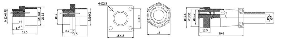圆形连接器 PLS12系列2T-8T结构图及技术参数
