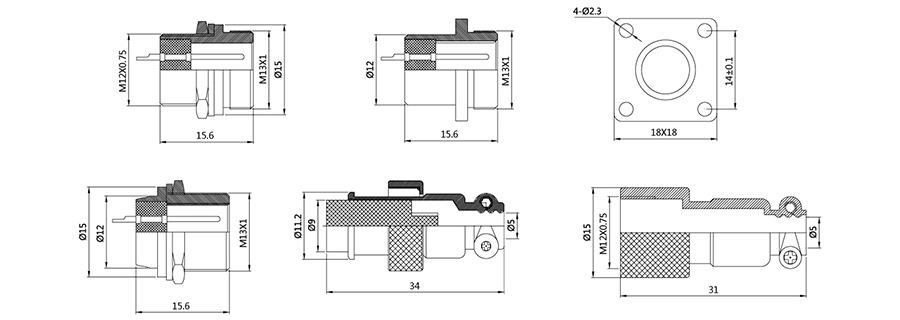 圆形连接器RS765-12系列(内芯小胶木方螺口式)2T-7T结构图及技术参数