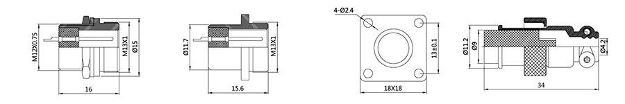 圆形连接器RS765-12系列(内芯工程塑料)2T-5T结构图及技术参数