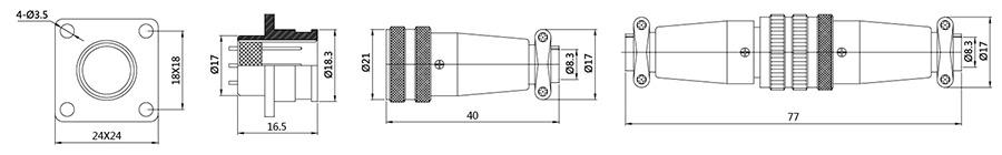 防水插头插座H17系列(圆对接式)2T-7T结构图及技术参数