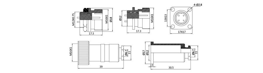防水插头插座HP12系列(防水插头)2T-7T结构图及技术参数