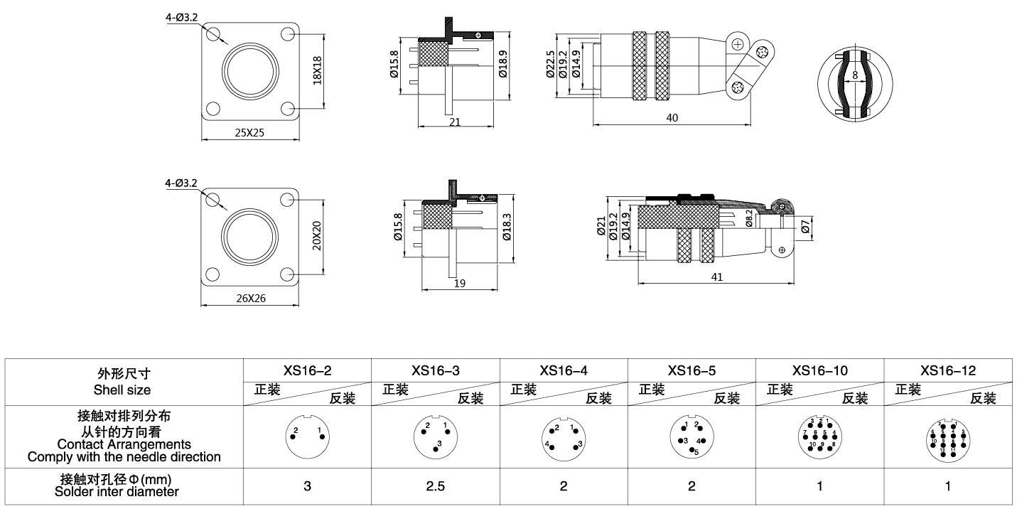 圆形连接器XS16系列(方卡扣式)3T-12T结构图及技术参数