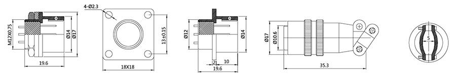 方卡扣式航空插头插座结构图及技术参数