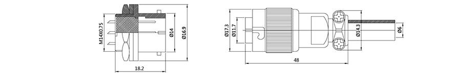 圆形电缆连接器YS1-14斜扣式2T-7T结构图及技术参数
