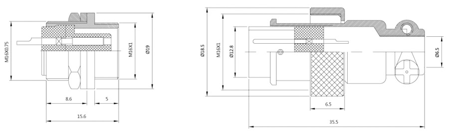 圆形电缆连接器YL1-16菱形反装结构图及技术参数