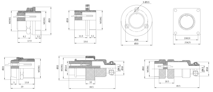 电子连接器DF20系列2T-15T防水型结构图及技术参数