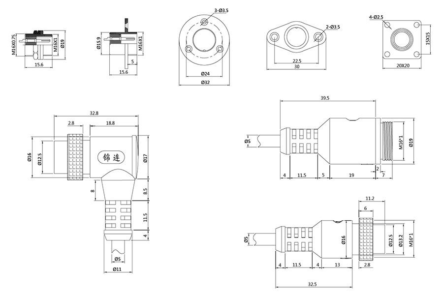 YL1-16系列2T-10T彩排四芯圆形电缆连接器结构尺寸