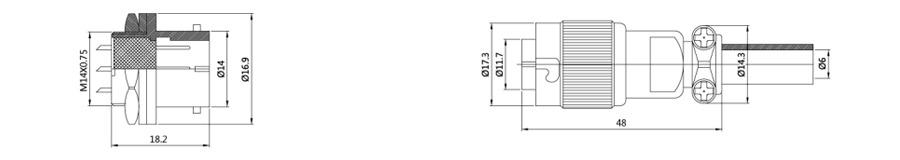 YS1-14系列2T-7T带防尘盖斜扣式圆形电缆连接器结构尺寸