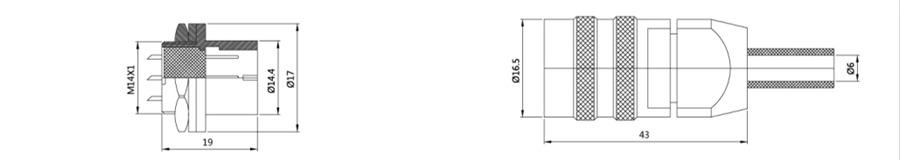 YS2-14系列2T-9T带防尘盖卡扣式圆形电缆连接器结构尺寸