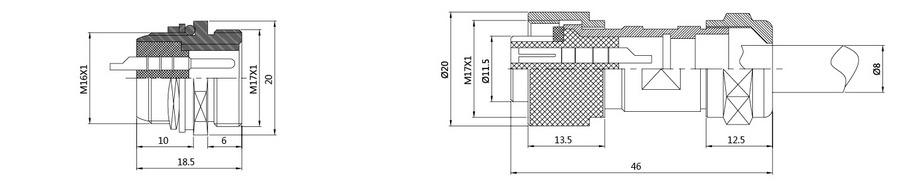 DF16G系列(防水插头)2T-12T电子连接器结构图