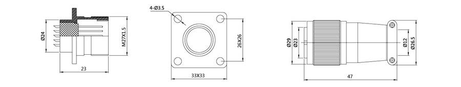 XS24系列12T/19T/26T(屏蔽/非屏蔽)航空插头插座结构尺寸