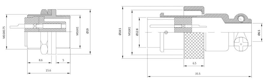 圆形电缆连接器反装式结构尺寸